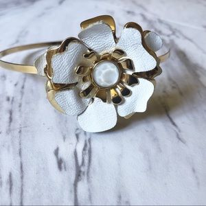 Henri Bendel Gold & White Leather floral headband
